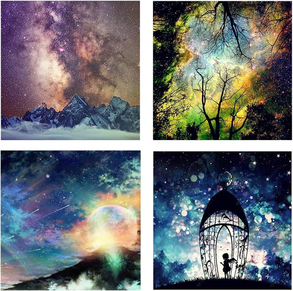 DIY Diamond Painting Kits for Adults Kids,Home Decor Room Office Presents for Him Her Bright Starry Sky in 4 Pack by YIGANERJING