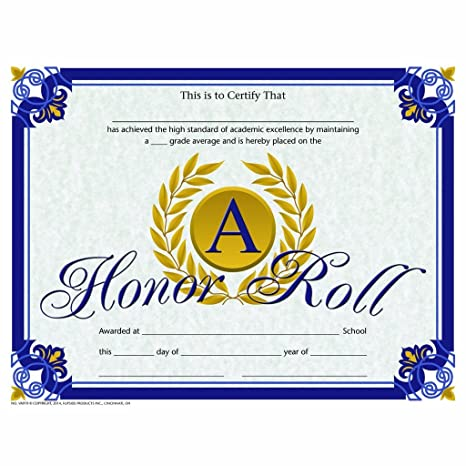 photograph regarding Free Printable Honor Roll Certificates called : Higher Honor Roll Certification - Shiny Paper