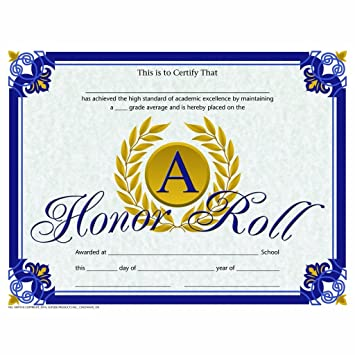 Amazon.com : A Honor Roll Certificate - Gold Laurel Leaves - Glossy ...