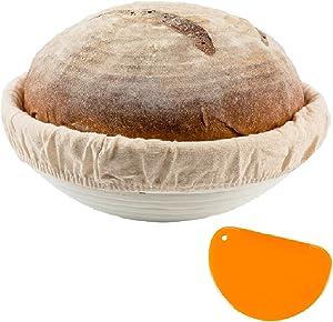 10 Inch Round + Dough Scraper Bread Banneton Proofing Basket SUGUS HOUSE –Brotform Bread Dough Rising Rattan Proofing Basket & Liner Cloth - Perfect For Artisan Bread Dough