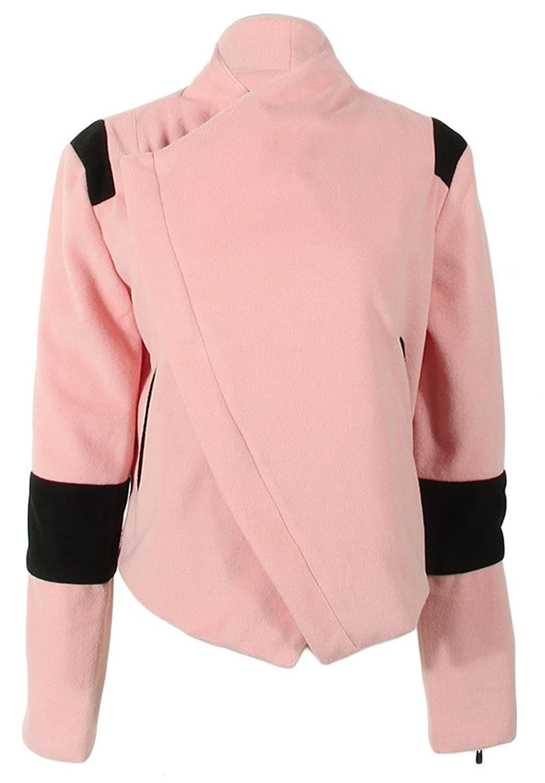 Biwinky Women's Long Sleeve Short Splicing Outwear Jacket Coat