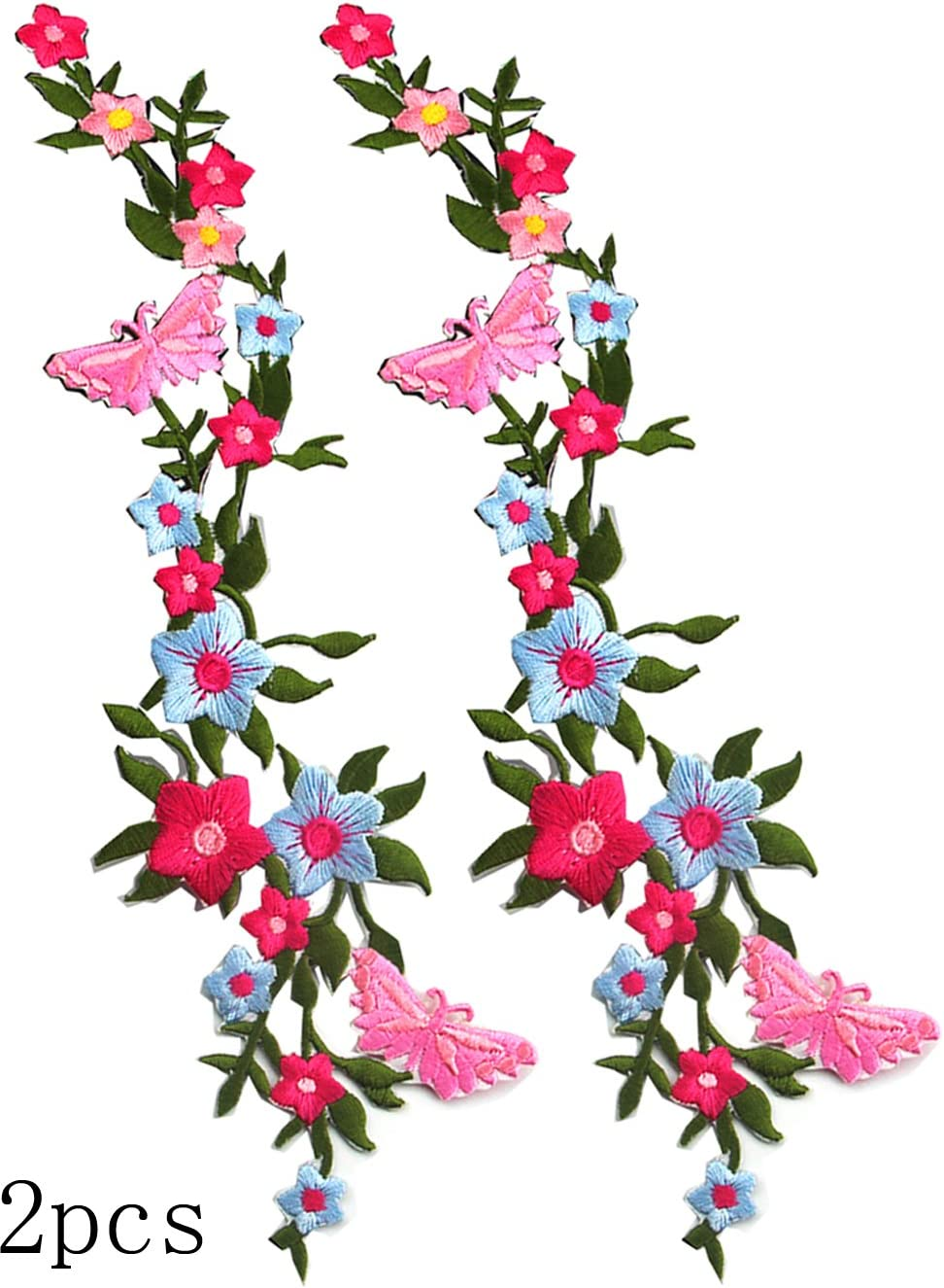 Iron On Pink Luminous Plant Flower Embroidery Applique Patch Sew Iron Badge