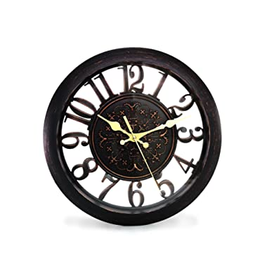 11  Royal Black Knight Emblem Simulated Wood Wall Clock, Quartz, ABS Texture, Antiquity European Style (Black)