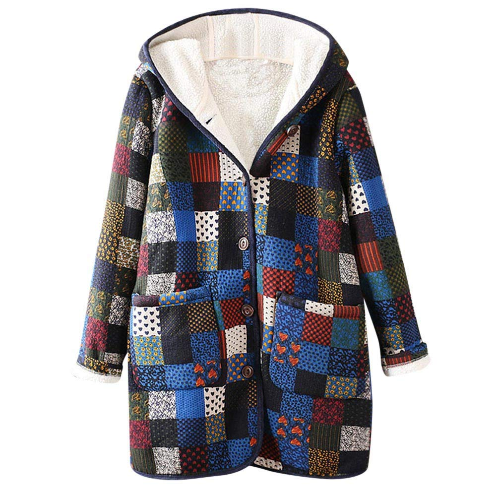 Franterd Floral Print Coat Womens Winter Hooded Pockets Warm Fluffy Lining Ethnic Vintage Oversize Coat