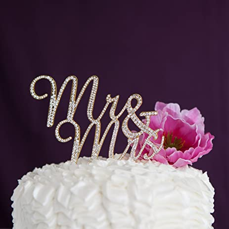 Amazon mr and mrs wedding cake topper gold rhinestone mr and mrs wedding cake topper gold rhinestone monogram decoration gold junglespirit Choice Image