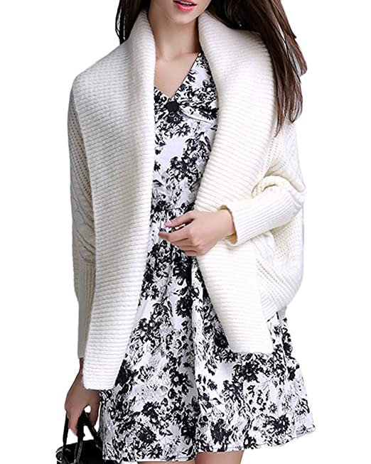 Chaqueta Poncho Jersey Suelto Cardigan Punto Para Mujer Leche Blanca S