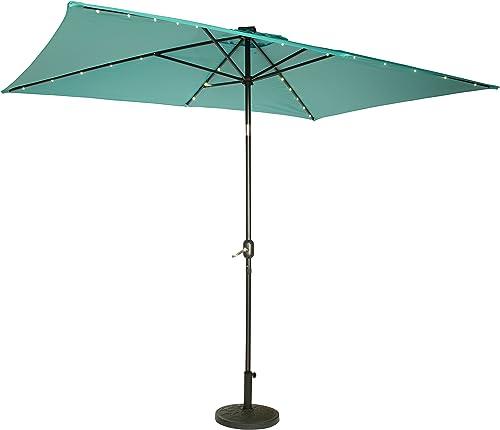 Trademark Innovations Rectangular Solar Powered LED Lighted Patio Umbrella
