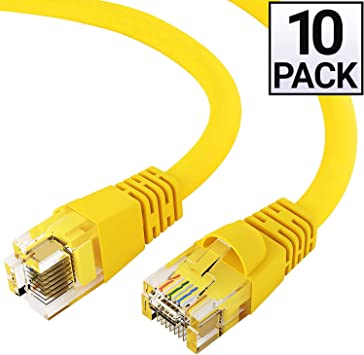25 Pack 1FT Cat6 Yellow Ethernet Network Patch Cable RJ45 Lan Wire 1 Feet