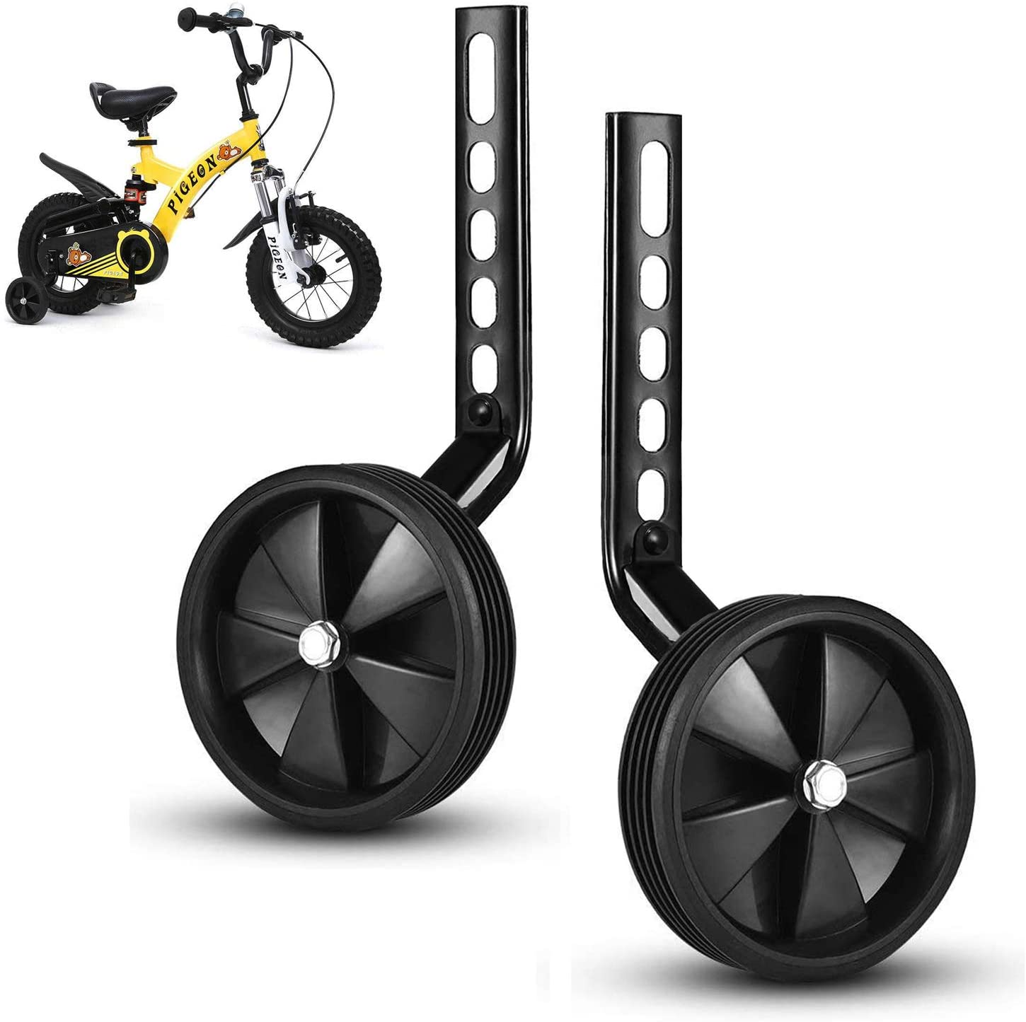 ZUDKSUY Bicycle Training Wheels Heavy Duty Training Wheels Anti-Slip Wheels Stabilizers Mounted Kit Fit for 12 14 16 18 inch Childrens Bikes White Wheels 1 Pair