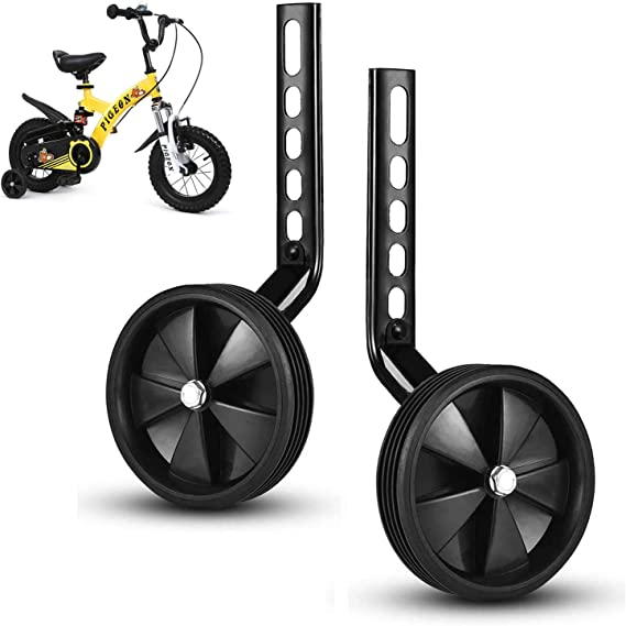 Kids Bicycle Wheel Replacement Stabilizer Wheels Easy Install Balance Rubber Cycling Bicycle Training Wheels for 12-20 Inch Childrens Bicycle Support Wheels