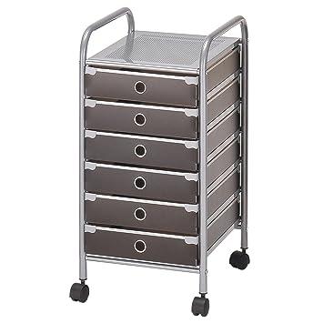 IDIMEX Rollcontainer Bürocontainer Badezimmer Rollregal RUBEN mit 6 ...