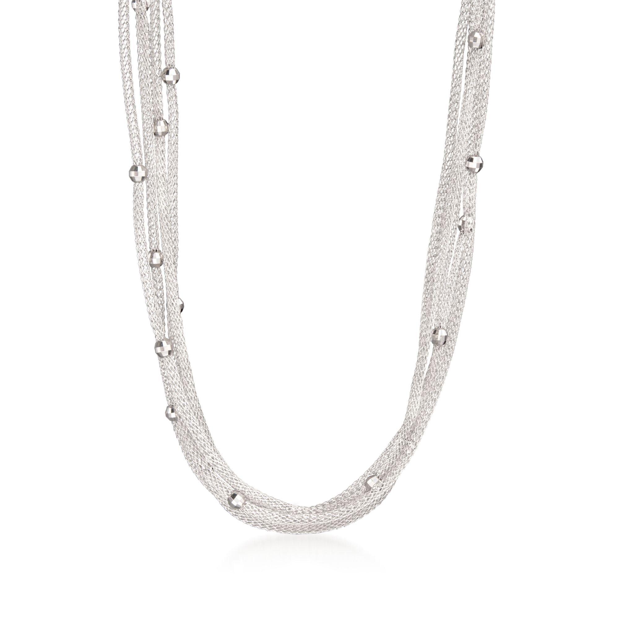 Ross-Simons Italian Sterling Silver 5-Strand Beaded Mesh Necklace by Ross-Simons