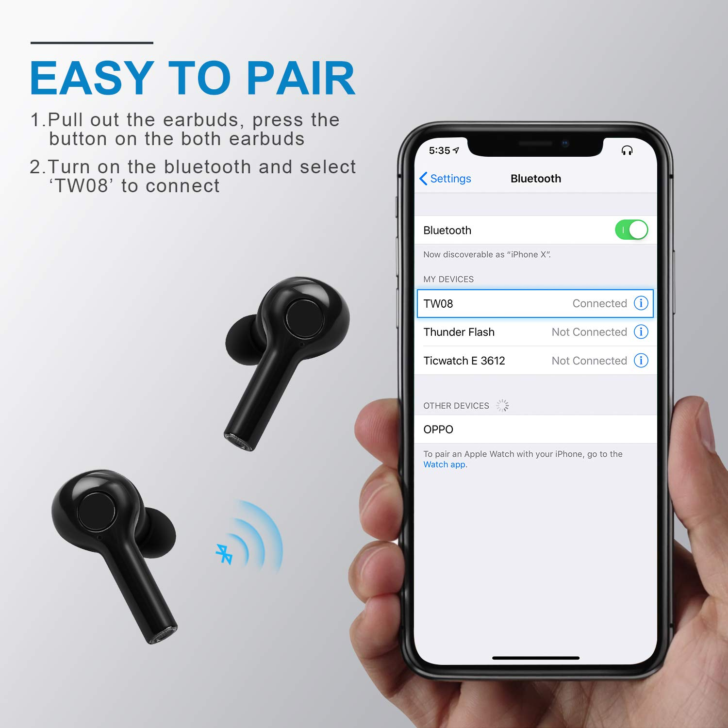 Sweatproof Ear Pods with Case Wireless Headphones with Charging Pad Hexdeer Bluetooth Earbuds Bluetooth V5 in-Ear Running Headphones Sport Earbuds with Built-in Mic Wide Compatibility