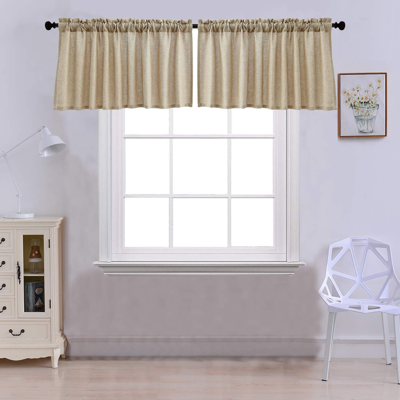Curtain Valances for Windows Burlap Linen Window Curtains for Kitchen Living Dining Room 52 x 18 inches Rod Pocket Set of 2 Coffee