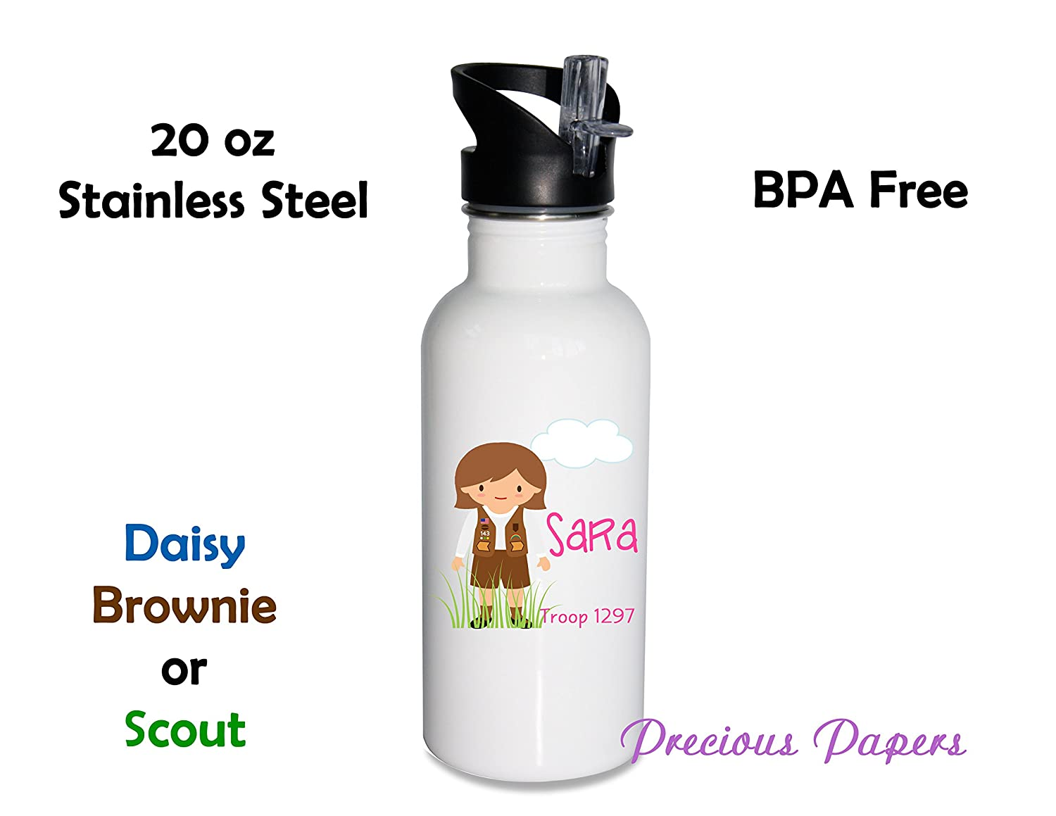 Personalized girl scout stainless steel water bottle