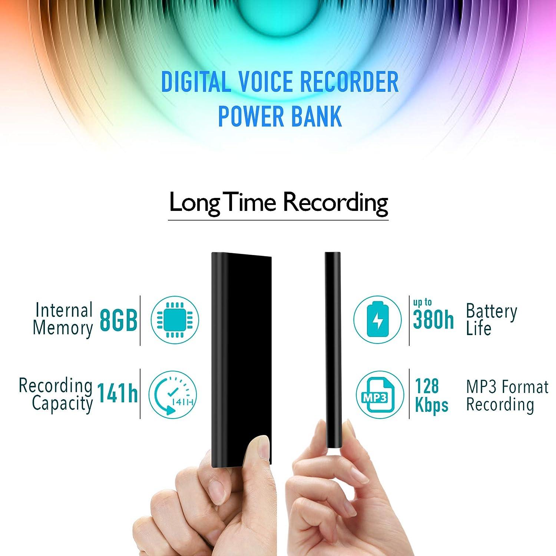 Registratore Vocale per 14 giorni di registrazione 3 in 1 Registratore Audio ad Attivazione Vocale poweREC di aTTo Digital 8GB Memoria 5000 mAh Caricabatteria Portatile