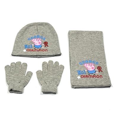 57062d377f0 Peppa pig - Ensemble - bonnet - gants - echarpe - gris - 54  Amazon ...