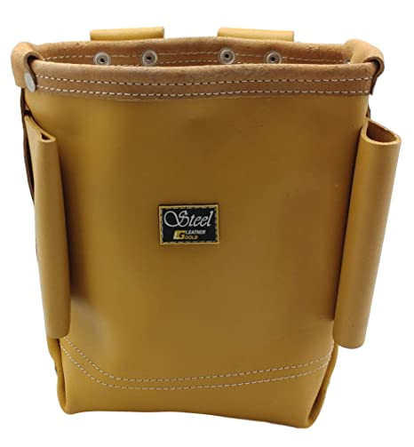 Premium Genuine Cowhide Leather Bolt Bag with Bull-Pin Loops | Professional  Ironworker Bolt Bag 3800, Yellow | Commercial Grade Sliding Tool Belt