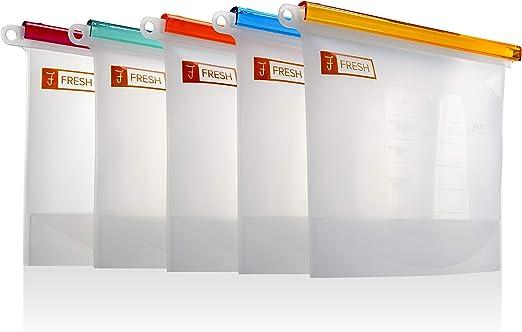 5 Bolsas de silicona transparente reutilizables Ziplock para ...