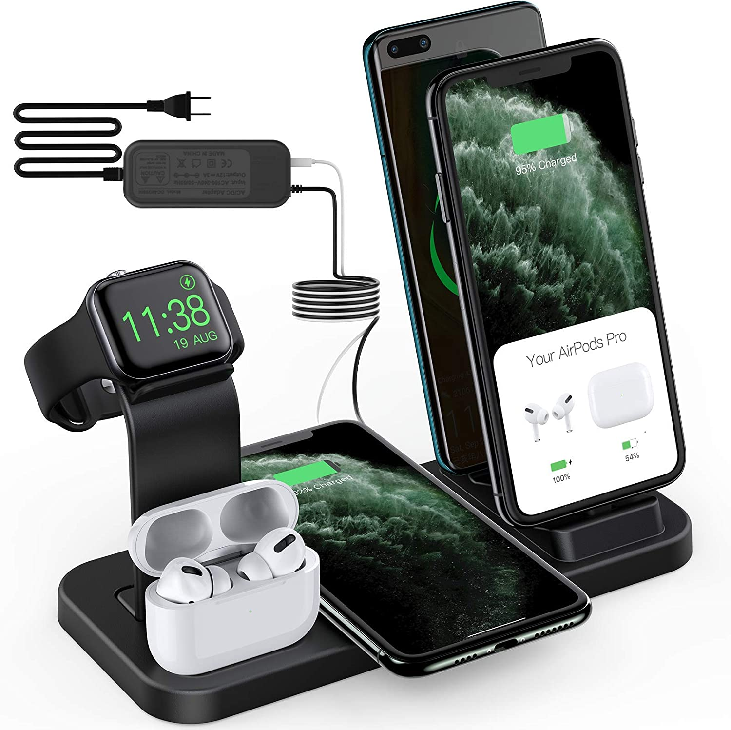 Sixmas Wireless Charger, 5 in 1 Wireless Charging Station for iPhone Samsung, USB C Dock Station for Android Phones, Charging Stand for Apple Watch SE and Series 6 5 4 3 2 1 AirPods Pro 2 1