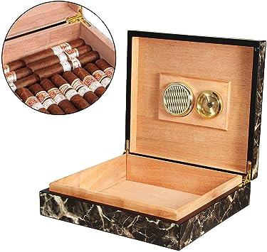 LCIGAR Cigarro Humidor, Patrón de Mármol Portátil Madera de Cedro Cigarro Caja, Cigarro Caja de Almacenaje con Humidor y Humidificador, Sostiene hasta 20 Cigarros: Amazon.es: Salud y cuidado personal