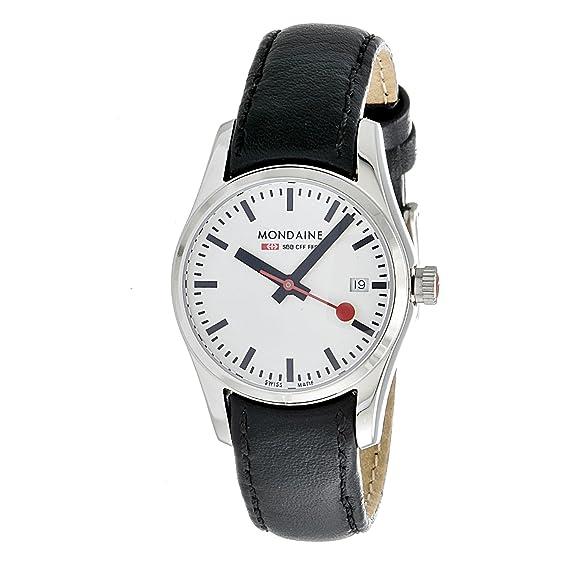 Mondaine Retro - Reloj de mujer de cuarzo, correa de piel color negro: Amazon.es: Relojes