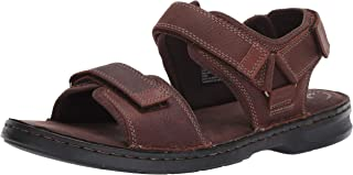 Clarks Men's Malone Shore Sandal, Dark Brown Tumbled Leather, 11 M US
