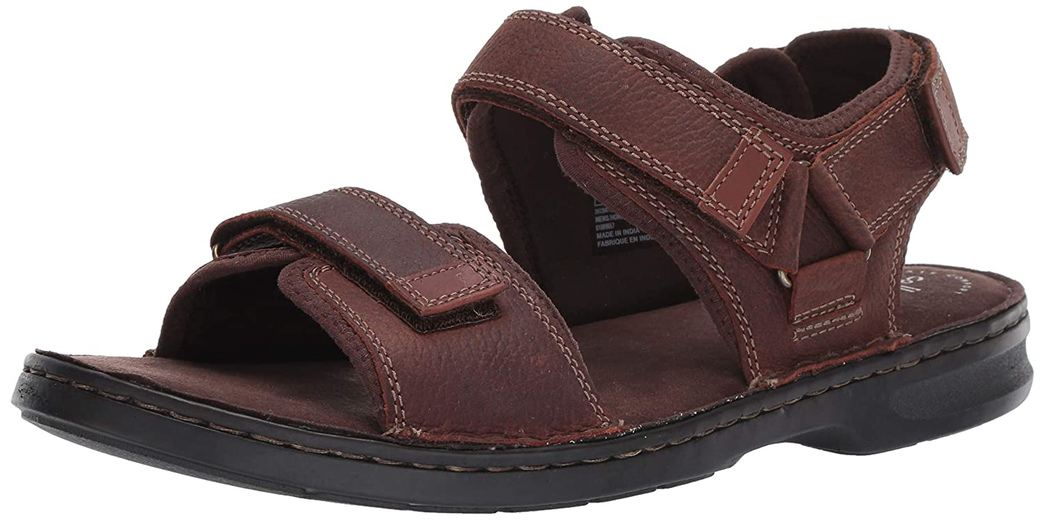 Clarks Men's Malone Shore Sandal, Dark Brown Tumbled Leather, 11 M US