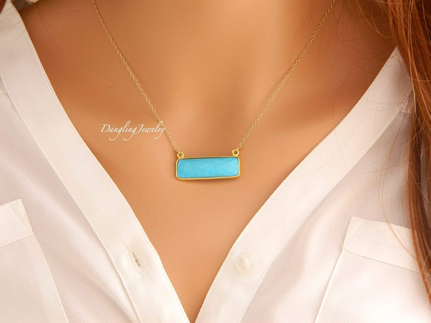 Minimalist Everyday Jewelry Delicate Bar Necklace Womens Gifts Gold Filled Turquoise Necklace December Birthstone Simple Stone Necklace
