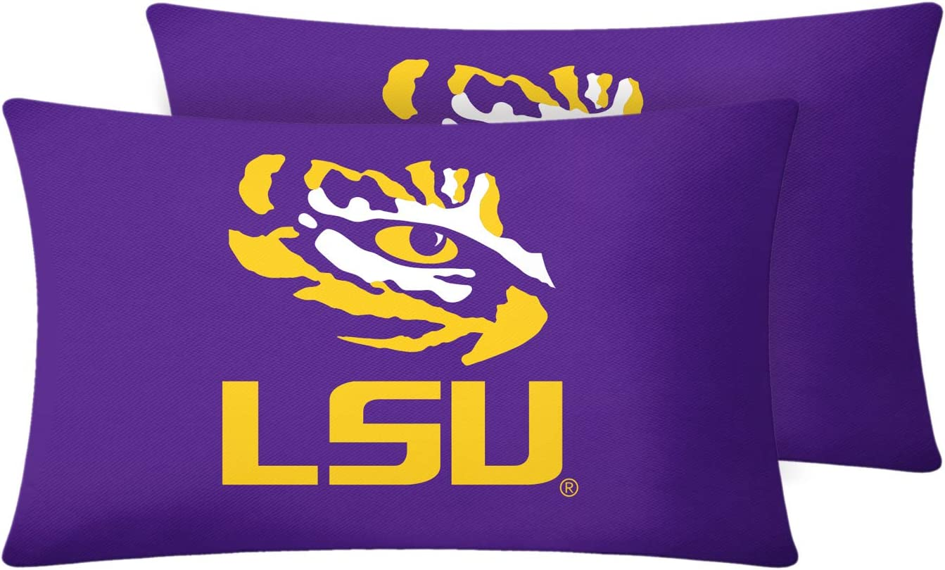 University Throw Pillow Covers Pillow Cases Decorative Pillowcase Protecter with Zipper Without Insert Set of 2 (LSU Tigers, 12