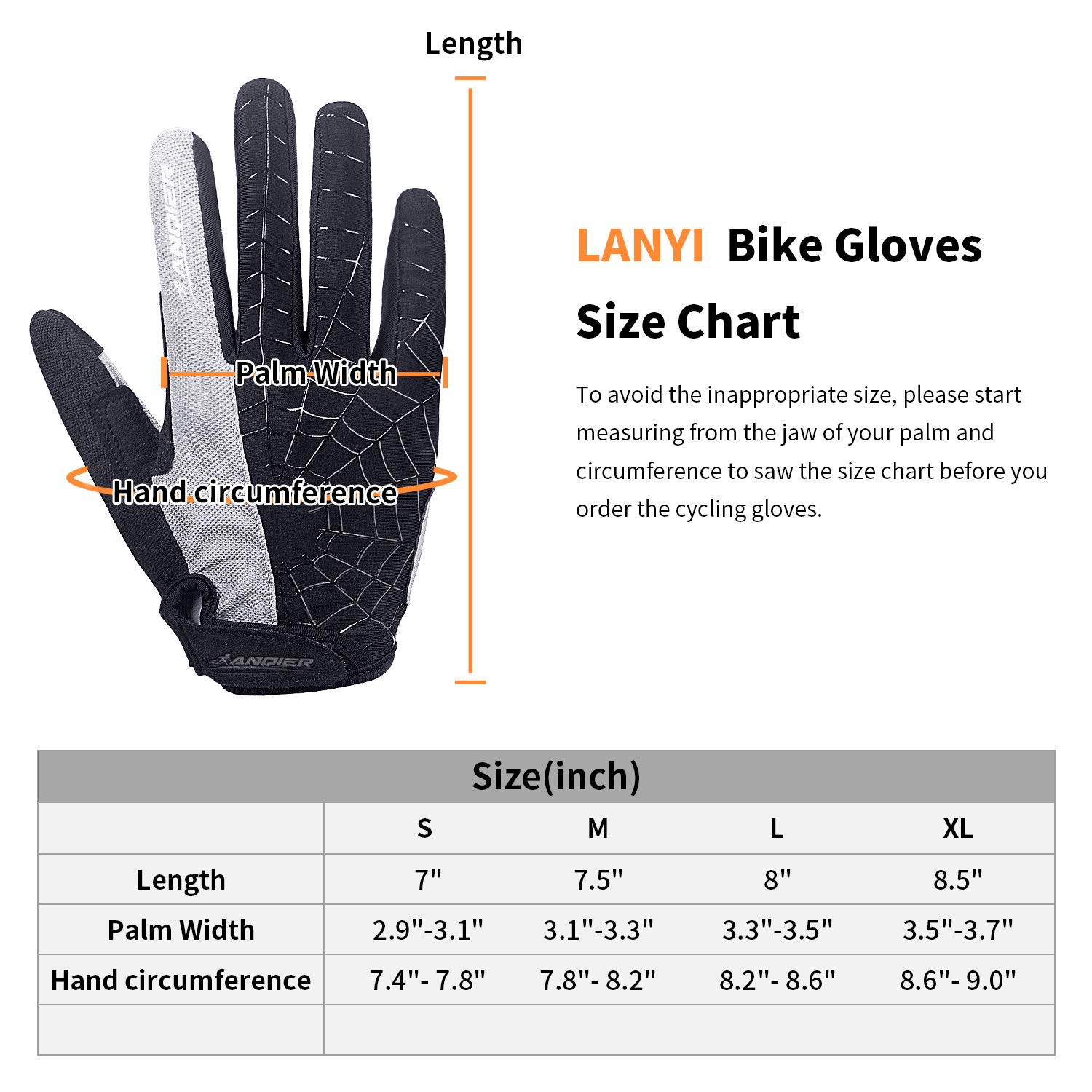 Lanyi Cycling Gloves Bike Gloves Mens Womens Touch Screen Full Finger Shock-Absorbing Pad Anti-Slip Biking Gloves Mountain Climbing Bicycle Gloves Red,M