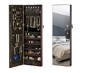 YOKUKINA LED Jewelry Armoire Wall-Mount/Door Hanging Large Storage Cabinet, Full Length Dressing Makeup Mirror Jewelry Organizer