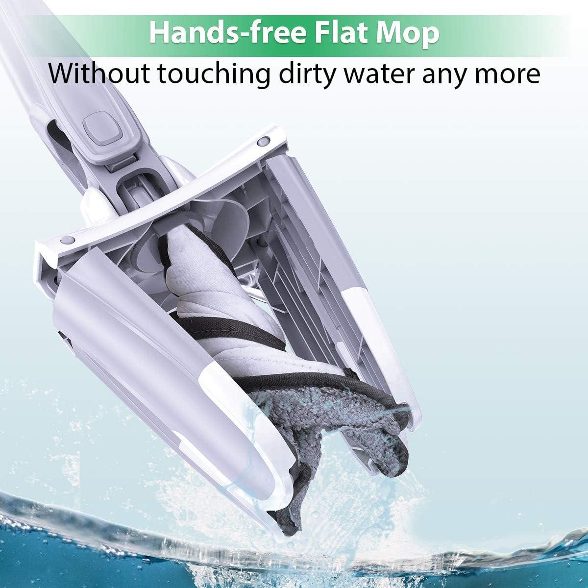 homeasy Balai Laveur Mop X Outil de Nettoyage Pivotant 360/° sans Lavage /à la Main Vadrouille avec Torchon en Microfibre