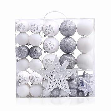 Weihnachtskugeln Weiß Silber.Decoking 46425 76er Weihnachtskugeln Weihnachtssterne Weiß Silber Brokat Kugel Stern Dekorativ Deko Weihnachtsschmuck Christbaumschmuck