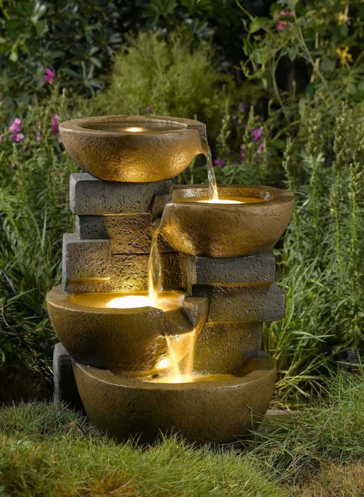 23 LED Lighted Stacked Pots and Rocks Outdoor Patio Garden Water Fountain