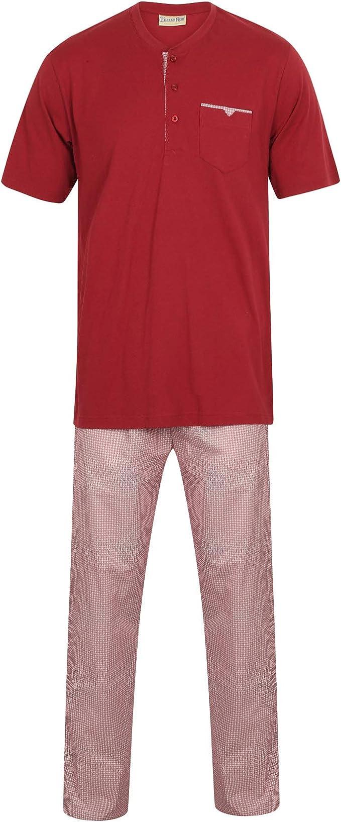 Pyjamas Set Mens Jersey Cotton Top /& Striped Bottoms Walker Reid Nightwear PJs