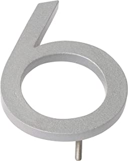 "product image for Montague Metal Products MHN-6-F-SR1-6 Solid Brushed Aluminum Modern Floating Address House Numbers, 6"", Powder Coated Silver"