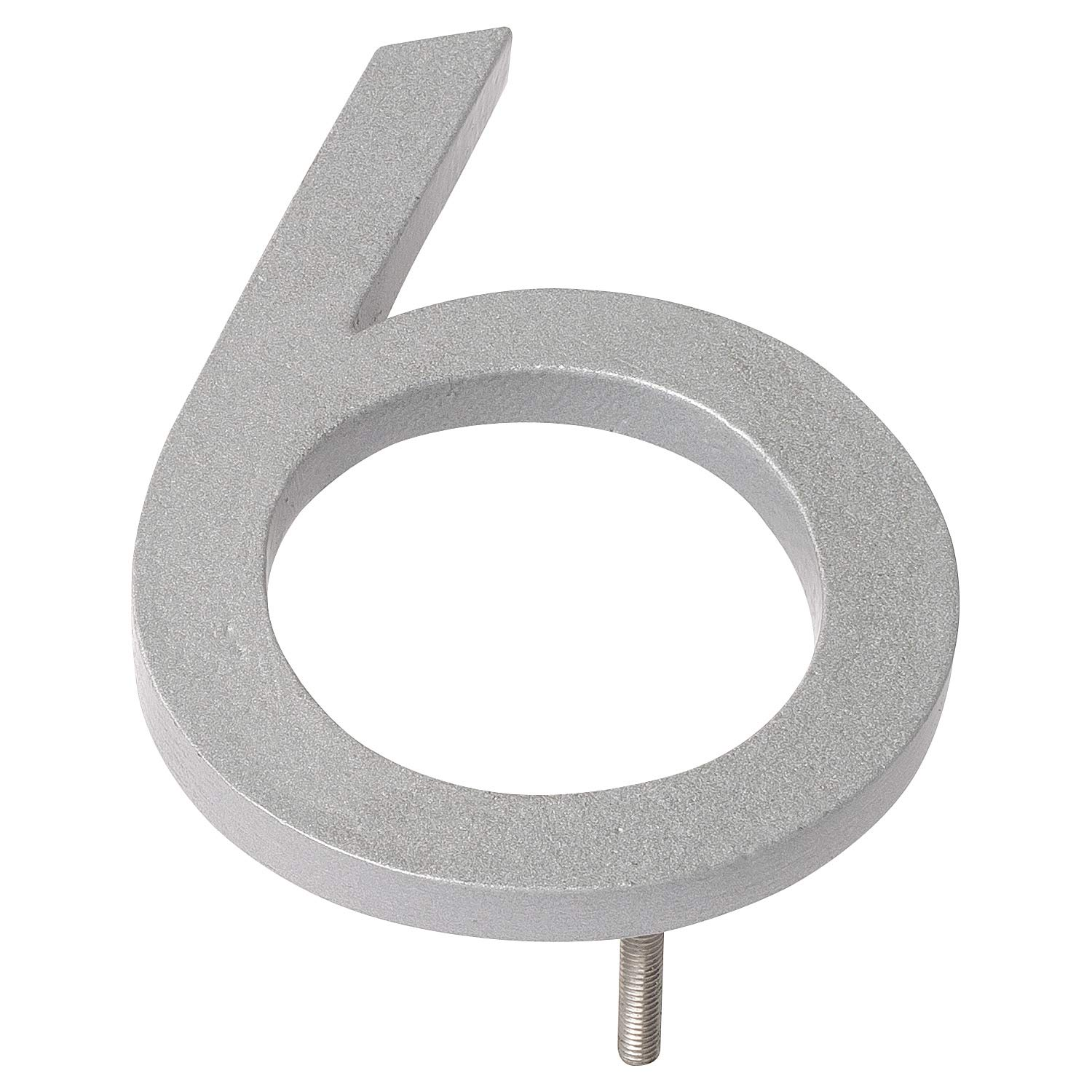 Montague Metal Products MHN-08-6-F-SR1 Floating House Number, 8'' x 5.81'' x 0.375'', Silver