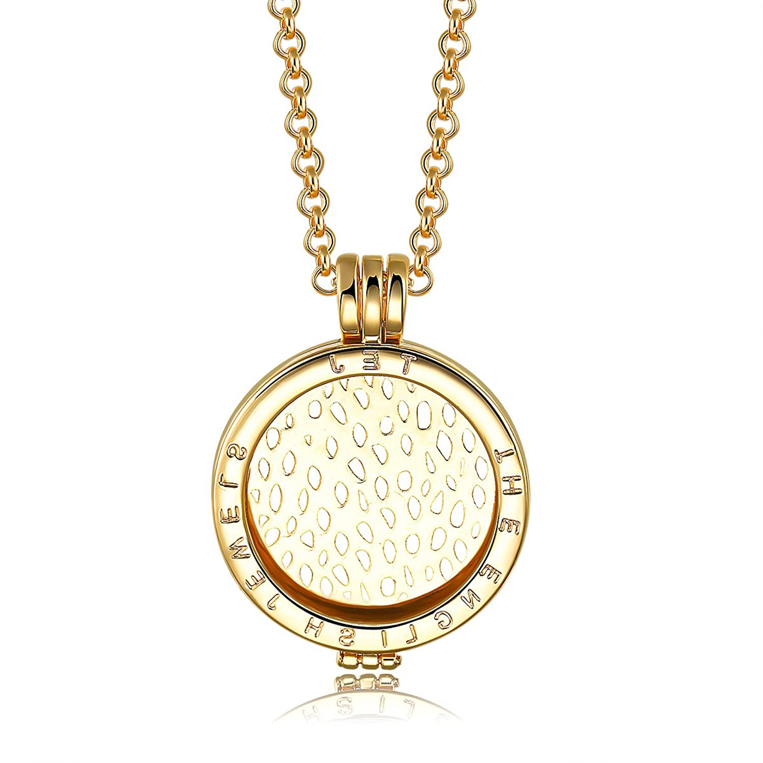 Interchangeable coin pendant necklace gold plated including interchangeable coin pendant necklace gold plated including belcher chain 25 30 inch white amazon jewellery mozeypictures Images
