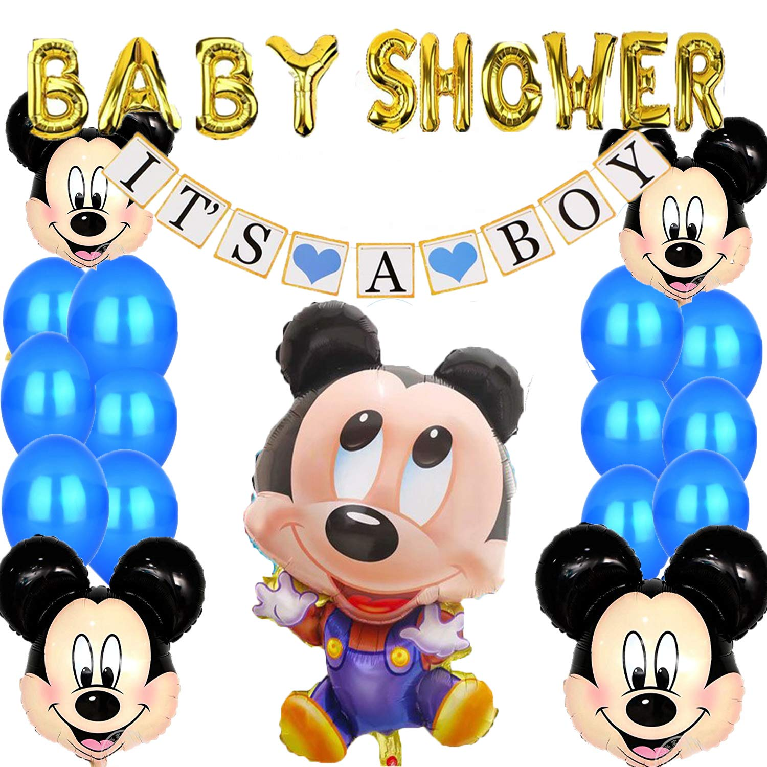 Mickey Mouse Baby Shower Decorations for Boy,''It's A Boy'' Banner Blue Party Supplies kit, Indoor Outdoor by Be Happy