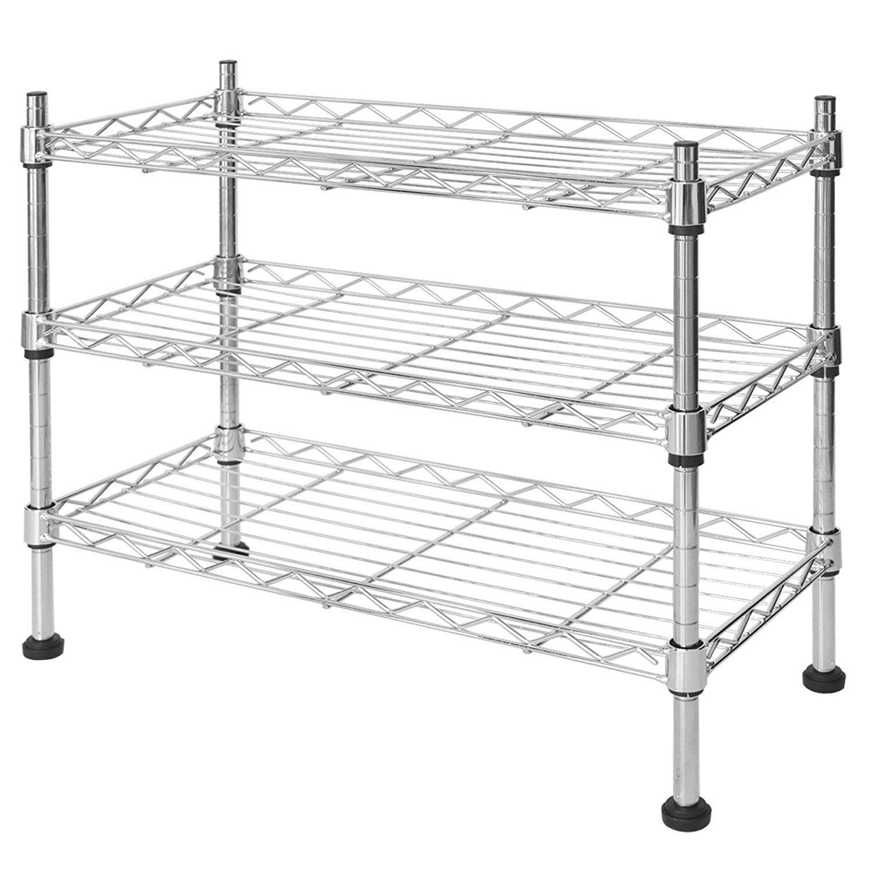 casa pura Kitchen Shelf   3 Adjustable Tiers   Stainless Steel   Great Space Saving Idea   Perfect for Under Sink Storage, Countertops, Bathroom etc   45 x 45 x 20cm