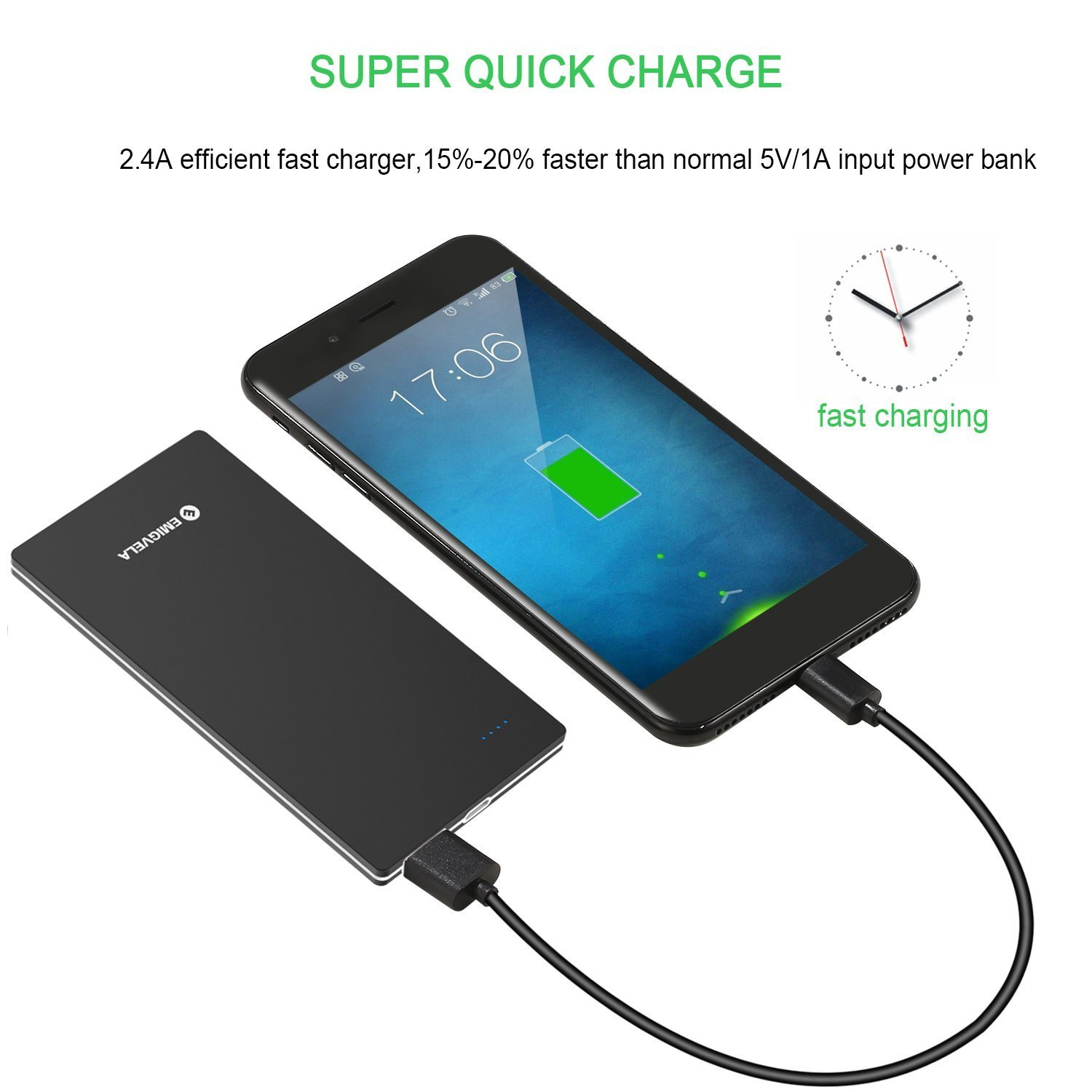 8mm Power Bank Slim 5000mah,  Ultra Slim 5000mAh External Battery with High-Speed Charging Technology, 5V/2A USB Output Port Qucik Charging for iPhone , Smartphone, Black