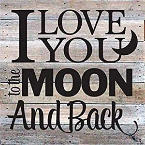 """Artistic Reflections Pallet Art RE1035w I Love You to The Moon and Back, 10.5"""" x 10.5"""", White"""