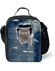 Haicoo Cute Kitty Print Kids Daily Lunch Bag Insulated Cartoon Lightweight School Lunch Box