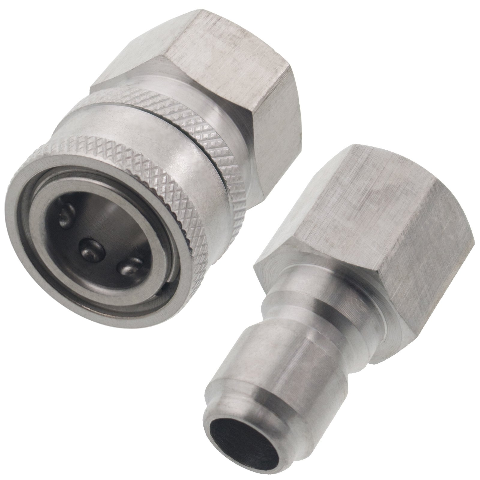 Erie Tools Pressure Washer 3/8in. Female NPT Quick Connect Stainless Steel Socket Set and Plug High Temp 5000 PSI 10.5 GPM by Erie Tools