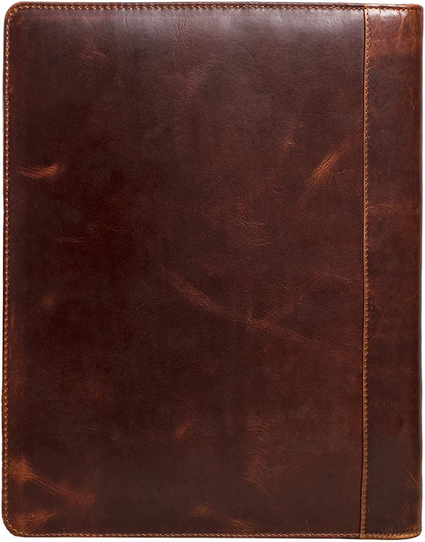 STILORD Arvid Leder Konferenzmappe Vintage Dokumentenmappe A4 mit Ringmechanik 13,3 Zoll Schreibmappe Aktenmappe Ringbuch Farbe:dunkel braun