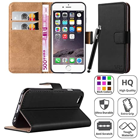 the latest e2dc7 2e1f5 iphone 6 / 6S Case, New Flip Wallet Book [Stand View] Premium Leather Card  Case Cover Pouch ForApple iPhone 6/6S + Screen Protector With Microfibre ...