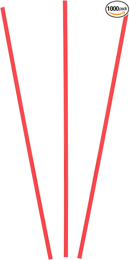 "Free Ship US Only USA SELLER   Red /& White Cocktail Straw//Slim Stir 5/"" 1000"