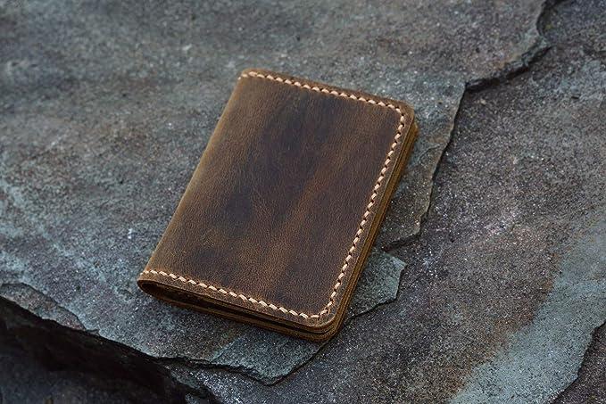 33b61869d167 Amazon.com  Personalized leather credit card holder Slim cash change wallet vintage  retro leather card case C054CF  Clothing