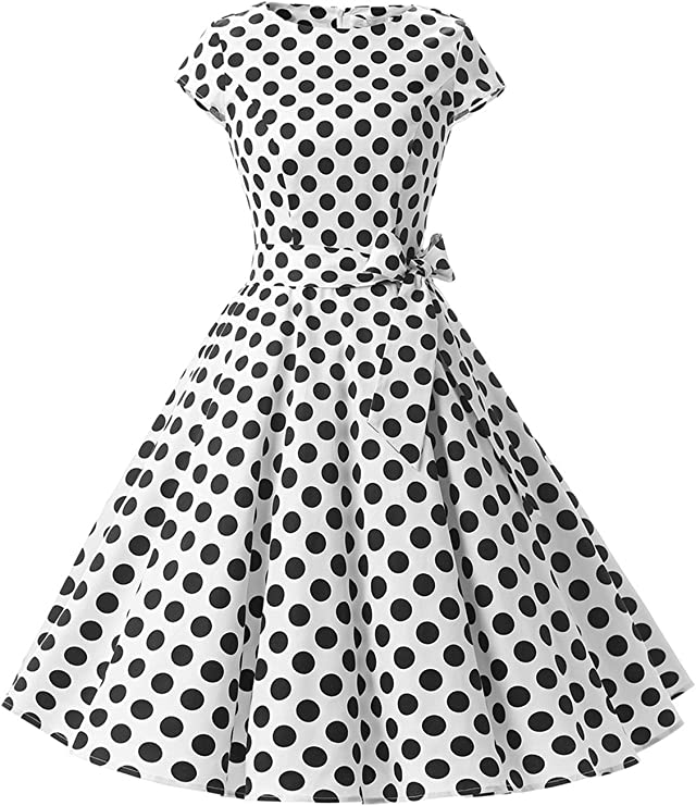 TALLA S. Dressystar Vintage 1950s Polka Dot and Solid Color Prom Dresses Cap-Sleeve White Black Dot B